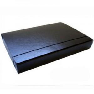 Caja de Archivo Fibra Negra Util Of c/elast. - lomo 8 cm