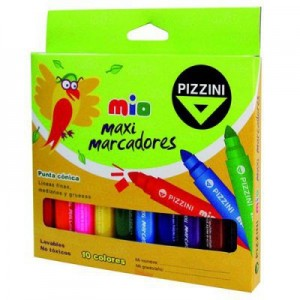 Marcador Pizzini Mio Maxi x 10 colores (Jumbo)