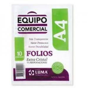 Folio Luma Equipo Comercial PP A4 x 10 unid.